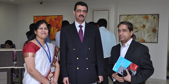Dr. Nidhi with Dr. Ram Narain, Executive Director and Dr. Harish Pathak MDACS Additional Project Director