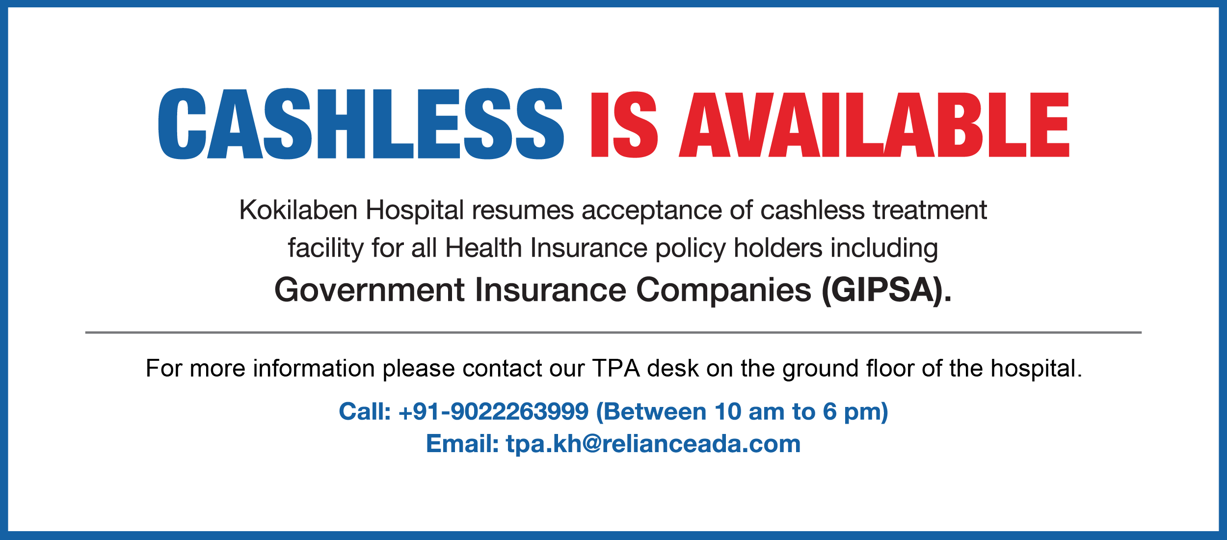 Kokilaben Dhirubhai Ambani Hospital - Cashless Treatment Facility for all Health Insurance Policy