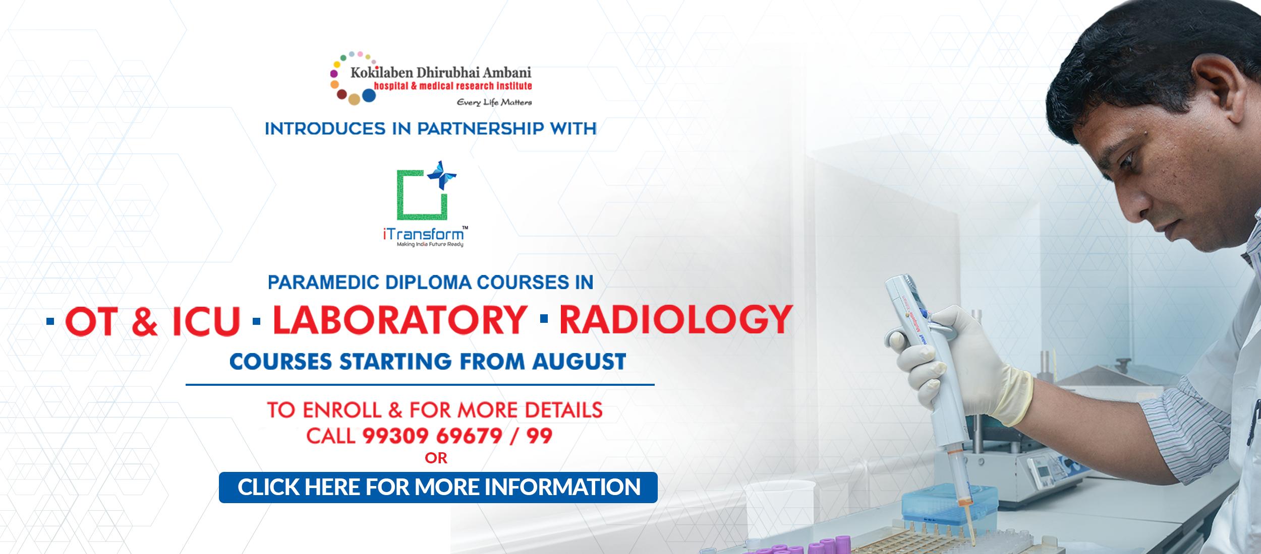 Kokilaben Dhirubhai Ambani Hospital - Paramedic Diploma Courses in OT & ICU, Laboratory and Radiology
