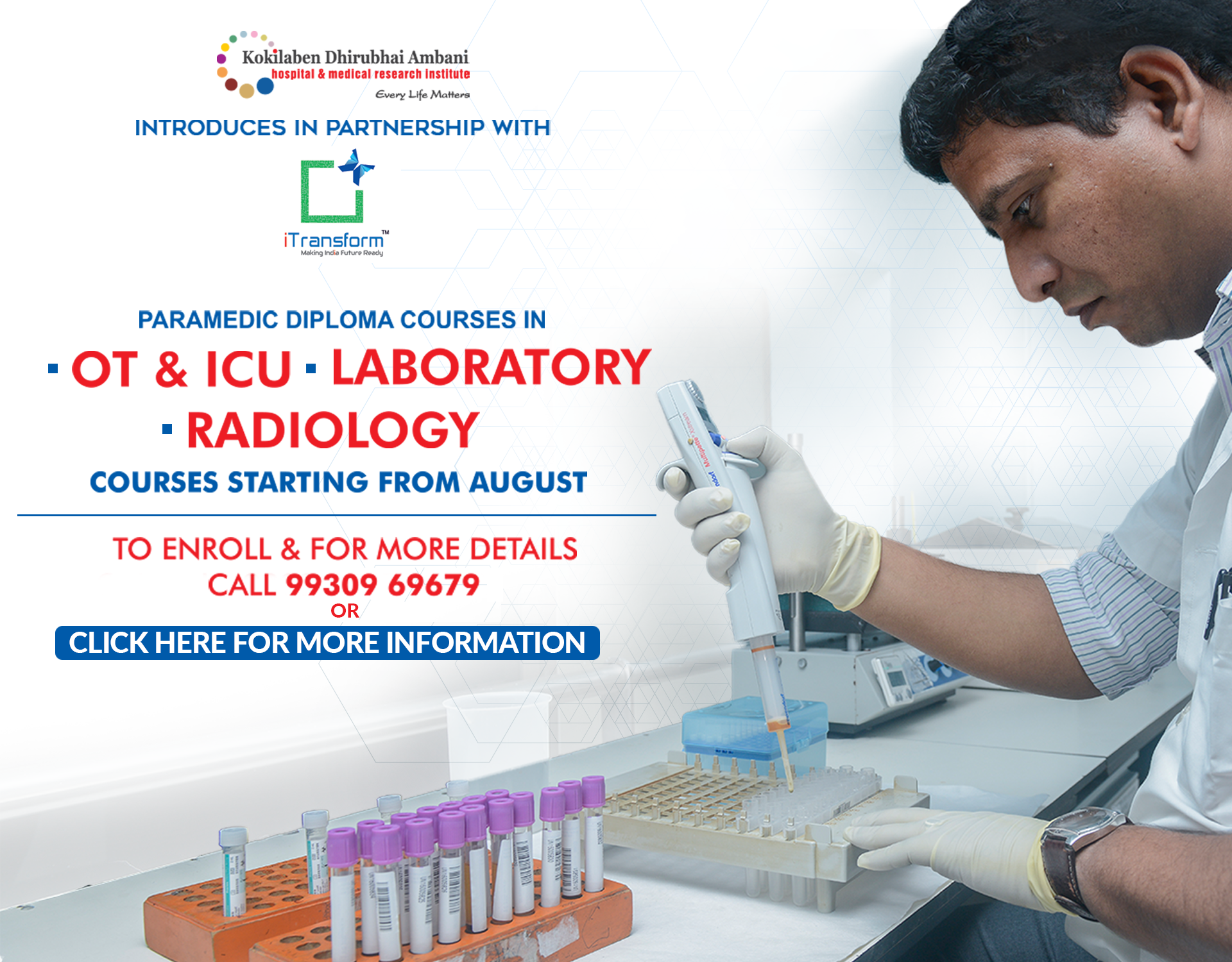 Kokilaben Dhirubhai Ambani Hospital - Paramedic Diploma Courses in OT & ICU, Laboratory and Radiology