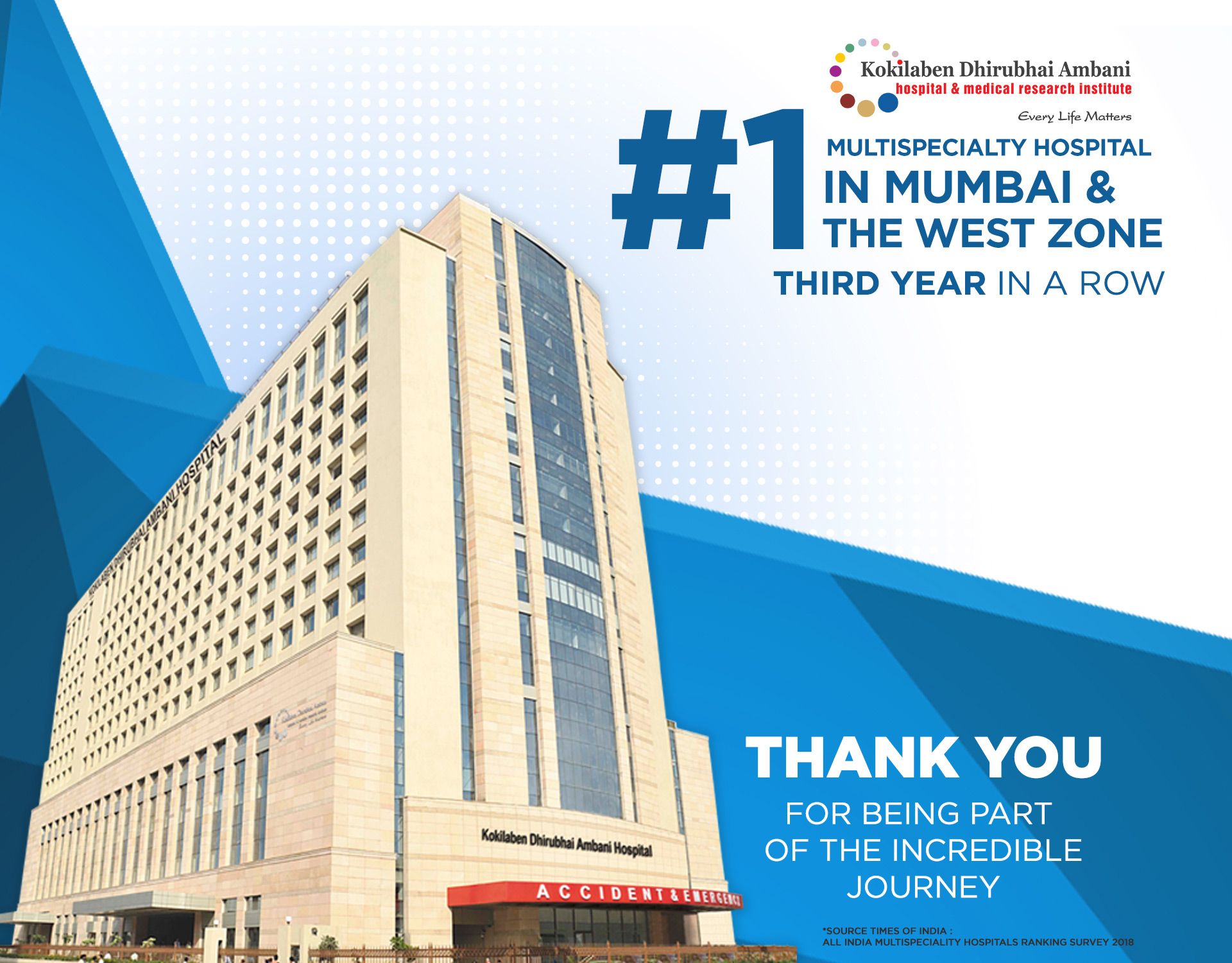 Kokilaben Dhirubhai Ambani Hospital - no.1 multispeciality hospital in Mumbai & the west zone