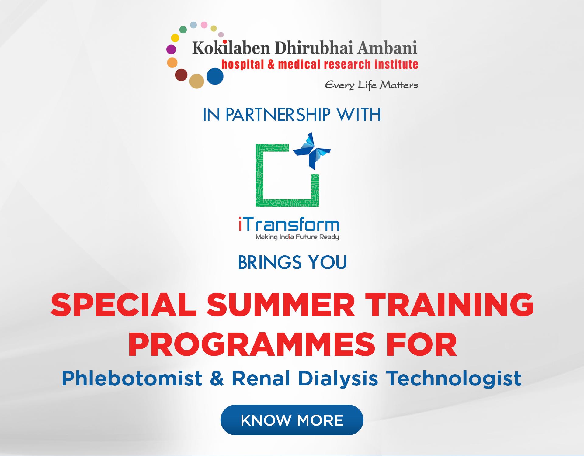 Kokilaben Dhirubhai Ambani Hospital - Special Summer Training Programmes For