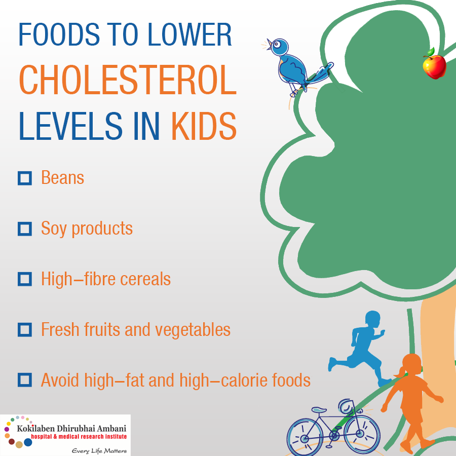 Foods to lower cholesterol levels in kids