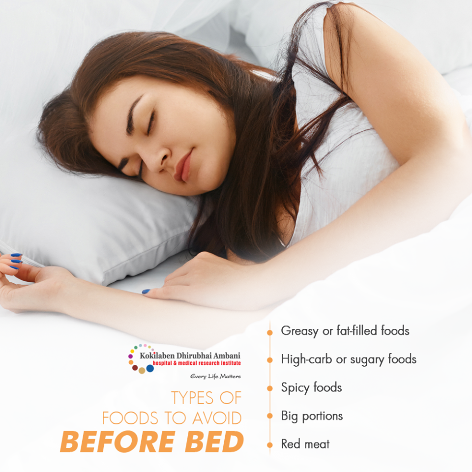 Types of foods to avoid before bed